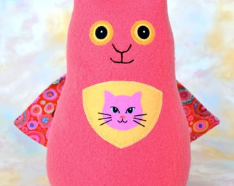 Persistent Kitten Pussy Cat Stuffed Animal, Coral Pink Fleece, Superhero Plush Kids Baby Toddler Toy, Personalized Tag, 9 inch