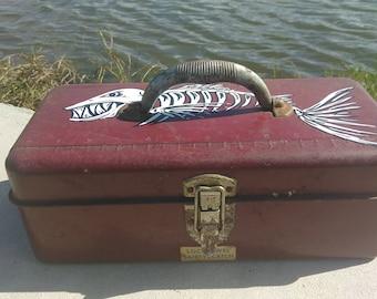 Vintage Metal Tackle Box Hand painted fish bone Fisherman Angler lake beach reel rod Outdoorsman retro nostalgia shark hook line bait
