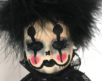 creepy clown goth doll, horror, Halloween prop