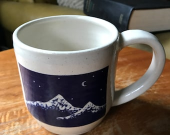 Hand carved, Mountains Mug