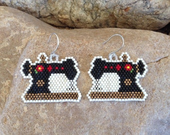 Sewing Machine Beaded Earrings