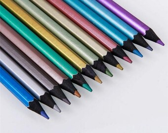 12 metallic colored pencils for coloring books, art, drawing on black or other colors