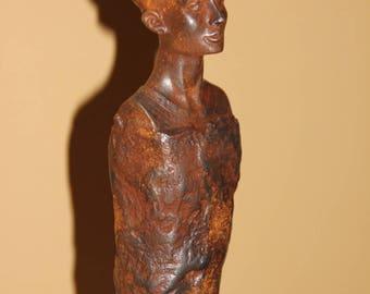 Egyptian statue trompe l'oeil rusty metal