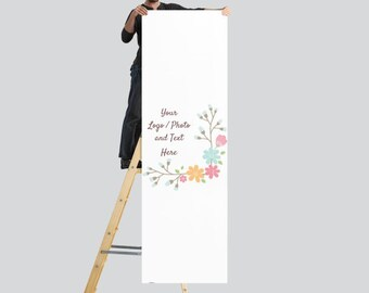 2.5' x 8' XL Vertical Banner Use Own LOGO or PHOTO Design Custom Personalized Stand Option Available