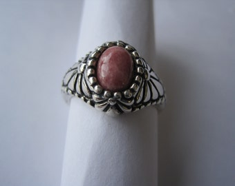 SPECIAL PRICE! Sterling Silver Ring With Pink Stone Heavy Setting