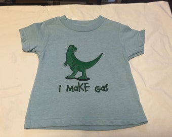 I Make Gas Dinosaur on a 2T Light Blue T-shirt  - Clearance Section