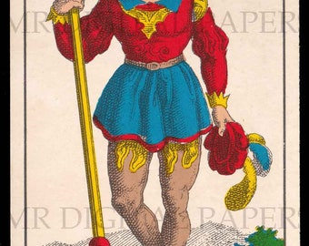 Antique Card / Antique Tarot Card / Valet Playing Card / Digital Instant Download / Paper Ephemera / French Playing Card / Tarot Print Art
