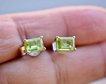 Peridot Earrings, Peridot Earrings Sterling Silver, Silver Green Earrings, Sterling Silver Earrings, August Birthstone, Peridot Jewelry