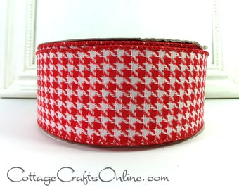 "Christmas Wired Ribbon, 2 1/2"",  Red and White Houndstooth - THREE YARDS -  Offray  ""Allhounds Red"" Check Craft Wire Edged Ribbon"
