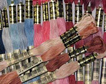 DMC, set of 5 skeins of special embroidery stranded cotton thread.