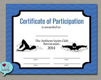 Swimming certificate etsy swim swimming swimmer team sports award printable digital file 85 yelopaper Gallery