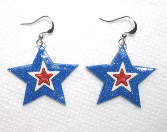 Red White Blue Star Earrings,Patriotic Star Earrings,Star Earrings,Patriotic Earrings,Memorial Day,July 4th,Mom Gift,Polymer Clay,Silver