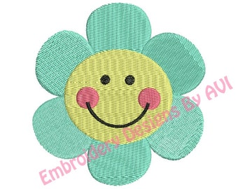 Cute Smiley Flower Machine Embroidery Design 4x4 Hoop Instant Download