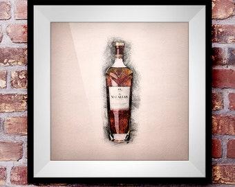 Macallan Rare Cask - Crosshatch Whisky Wall Art