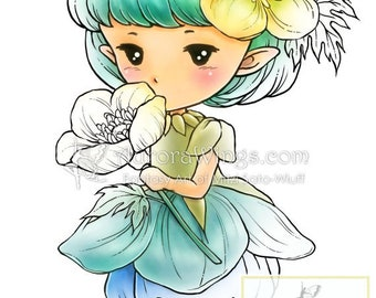 Buttercup Sprite - Aurora Wings Digital Stamp - Adorable Flower Fairy - Fantasy Line Art for Arts and Crafts by Mitzi Sato-Wiuff