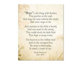 Emily Dickinson Hope is the Thing with Feathers Poem, Emily Dickinson Quote Art Print, Poetry Art, Inspirational Quote, Literary Wall Art