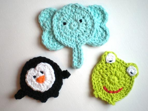 PATTERN: Three Animal Appliques, easy crochet PDF, zoo patch ...