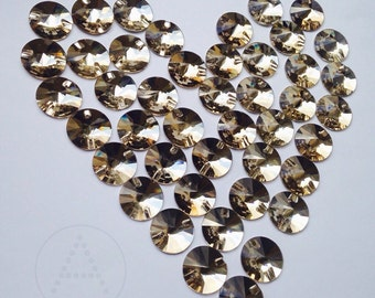 18mm Round Topaz, 18pcs  Sew On Crystal  flatback