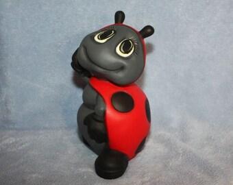 Handpainted ceramic Ladybug Standing up posing in red & black