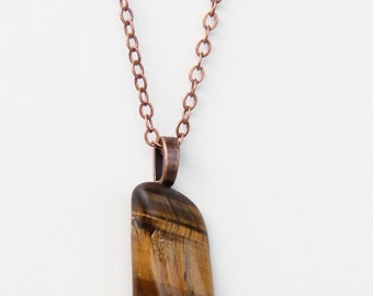 Tigers Eye on a Antique Copper Chain