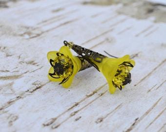 SALE- Yellow Bell Flower Earrings, Vintage Inspired Lucite Flower Earrings