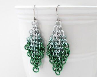 Green ombre earrings, chainmail European 4 in 1 earrings, green jewelry