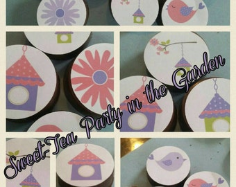 24 sassy pink pretty girl flower floral shabby chic dainty garden tea purple party image chocolate covered oreos or chocolate lollipops
