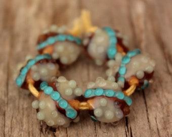 Mini Lentils #4- A set of 6 lampwork beads