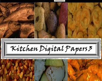 Food Digital Papers - Meat - Seafood - Dessert - Food Photography - Kitchen Scrapbook - Menu Scrapbook - Food Scrapbook