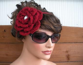Womens Headband Crochet Headband Summer Fashion Accessories Women Boho Headband Festival Daisy Headband in Dark red - Choose color