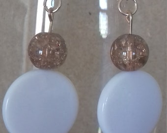 Rose gold white disc dangle earrings
