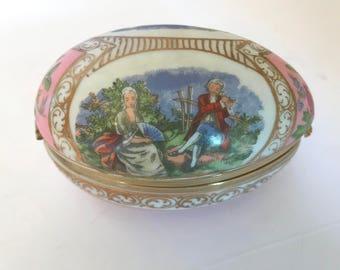 Vintage Lefton Victorian Scene Courting Couple Egg Shaped Trinket box-