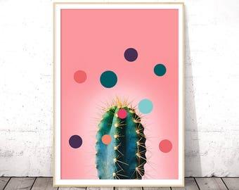 Pink Cactus Art, Cactus Modern Print, Cacti Print, Cactus Printable Art, Succulent Art Print, Cactus Decor, Printable Digital Download