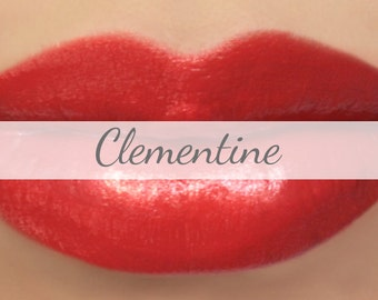 "Red Orange Lipstick Sample - ""Clementine"" bright natural lip color"