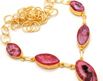 Agate brass necklace size 18 inch