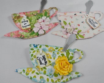 China Tea Cup Tags or Embellishments, Gift Tags, Tea Cup Tags, Fancy Tea Cups, Tea Cup Embellishments