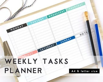 Notebook Style Weekly Planner, Digital Download Printable Week Planner, To do list, Minimalist Organization, Colorful week on a page.