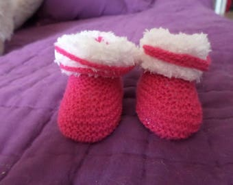 Ballet shoe pink and white with button
