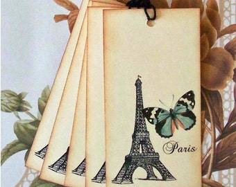 Tags Paris Eiffel Tower Butterfly Gift Tags Party Favor Treat Bag Tags Vintage Style T026