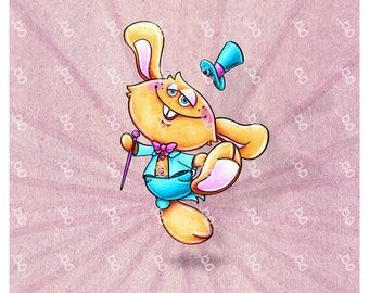 """Digi Stamp """"Rabbit with Top Hat"""""""