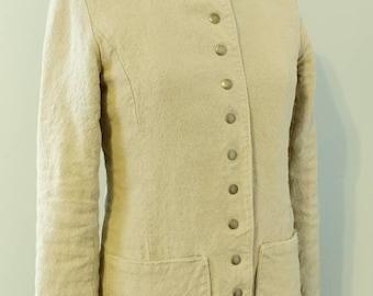 Hemp Linen Natural Military Blazer