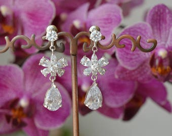 Wedding Earrings, Bridal Earrings, Cubic zirconia Earrings, zirconia jewelry,prom.