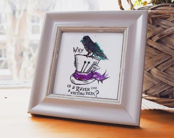 Why is a raven like a writing desk framed print