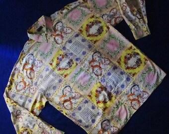 Sale • Versus VERSACE shirt by Gianni Versace shirt baroque floral prints very colorful rare vintage versace shirt