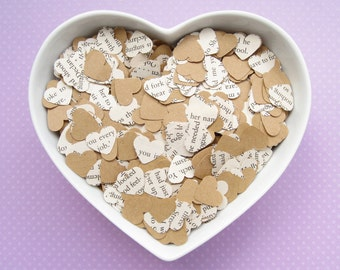 1000 Heart Novel Kraft Confetti Mix - 26 book choices - Alice in Wonderland, Jane Austen, Harry Potter, Roald Dahl, Shakespeare and more