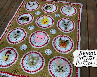 Farm Animal Blanket - Crochet Pattern