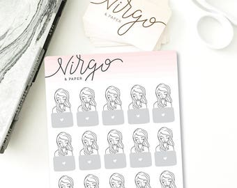 MINI Laptop Girl Planner Stickers - Computer, Work, School Planner Stickers - Hand Drawn planner stickers - Glossy or Matte Stickers MCG