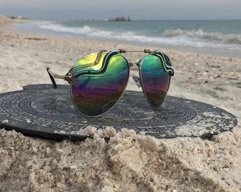 AViATOR Rainbow Reflective Unisex Glasses, SPUNGLASSES l Blue Gold Wire Wrapped l Mens Womens Sunglasses Eyeglasses Shades l FREE Shipping