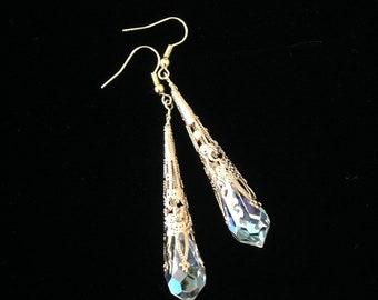 Swarovski Crystal Earrings Crystal Drop Prism Earrings AB Crystal Earrings Bridal Swarovski Crystal Jewelry Teardrop Earrings Gold Earrings