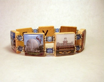 DISNEY WORLD Bracelet / WDW / Upcycled Scrabble Jewelry / Unusual Gifts